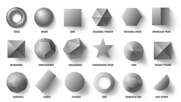 Basic 3d shapes top view. realistic pyramid shape, geometric polygon figures and hexagon symbol concept Premium Vector