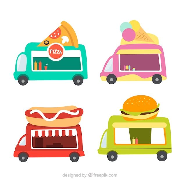 Basic collection of flat food trucks