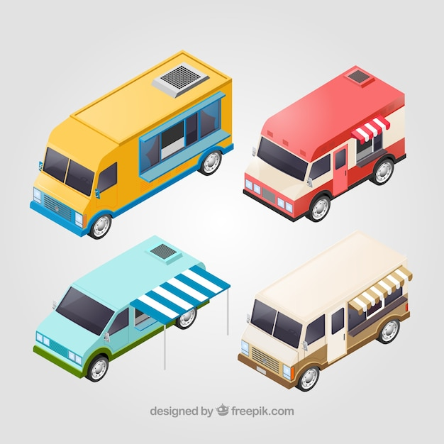 Basic collection of isometric food trucks
