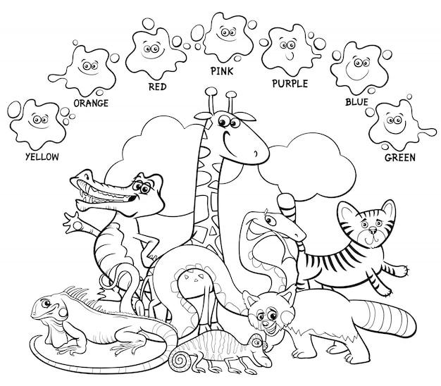 Basic colors for children coloring book Premium Vector