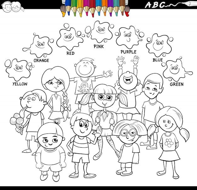 Basic colors educational worksheet with children Premium Vector