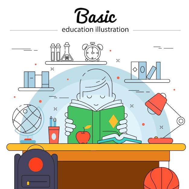 Базовое образование цветной концепции в линейном стиле с ребенком делает домашнее задание Бесплатные векторы