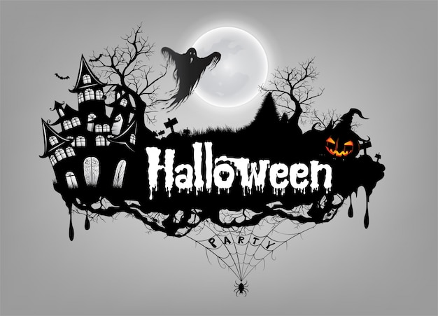 Basic rgbhappy halloween background with pumpkin and ghost Premium Vector