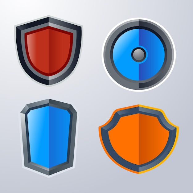 Basic shield icon pack Premium Vector