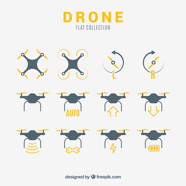 Basic variety of flat drones Free Vector