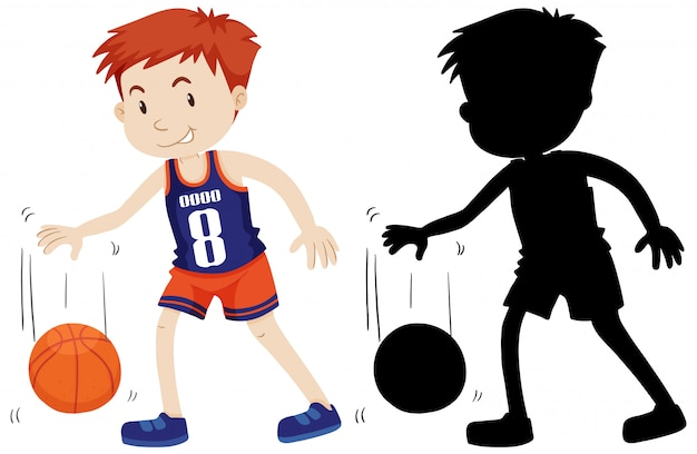 Baskaetball player with its silhouette Free Vector