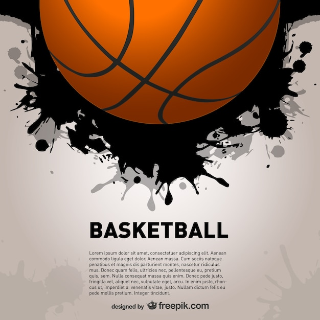 Basket ball and black paint splashes Free Vector