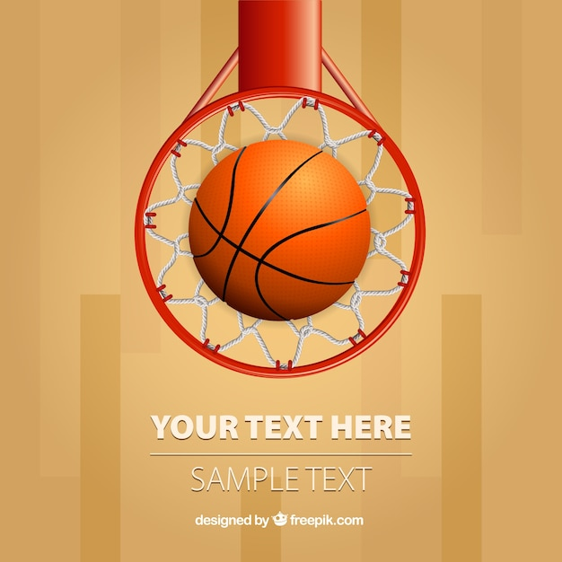 Basket ball in the hoop Free Vector