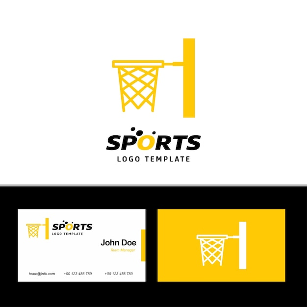 Basket ball logo and business card Free Vector
