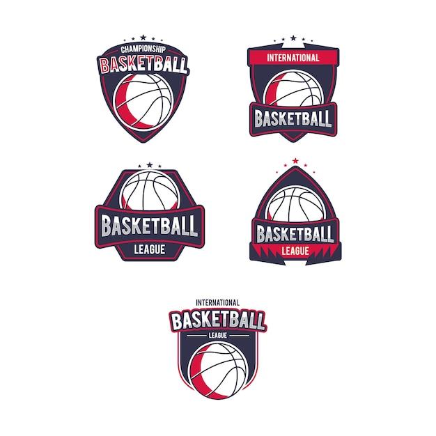 Набор логотипов для баскетбола Premium векторы