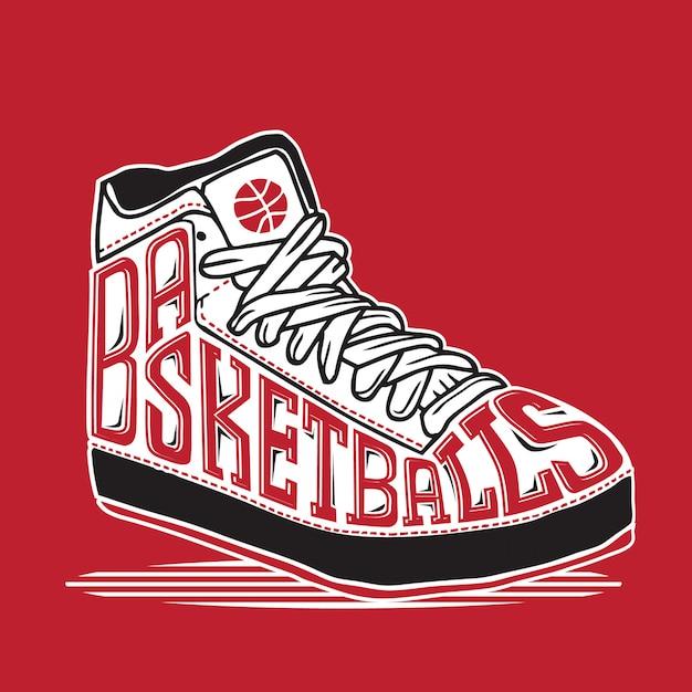 Basket ball sneaker typography Premium Vector