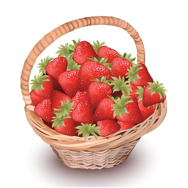 Basket of berries background Free Vector