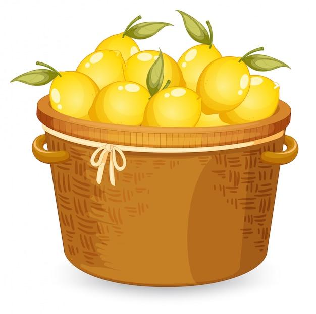 A basket of lemon Free Vector