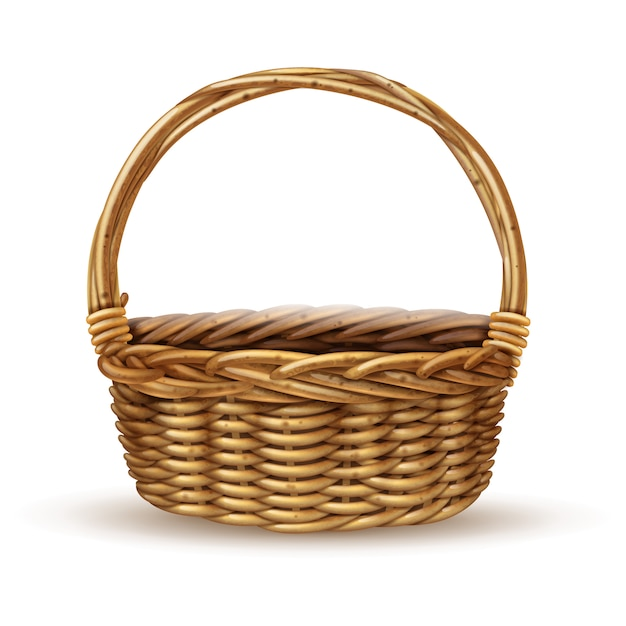 Basket realistic side view image Free Vector