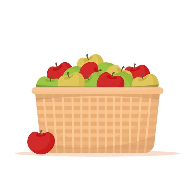 Корзина с яблоками. концепция фермерского рынка. иллюстрация в плоском стиле, изолированные на белом фоне Premium векторы