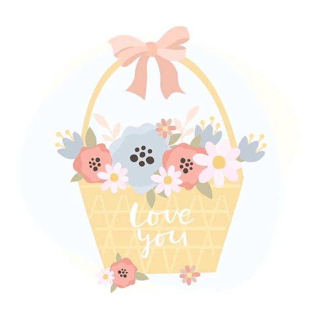 花のバスケットとあなたを愛して碑文 無料ベクター