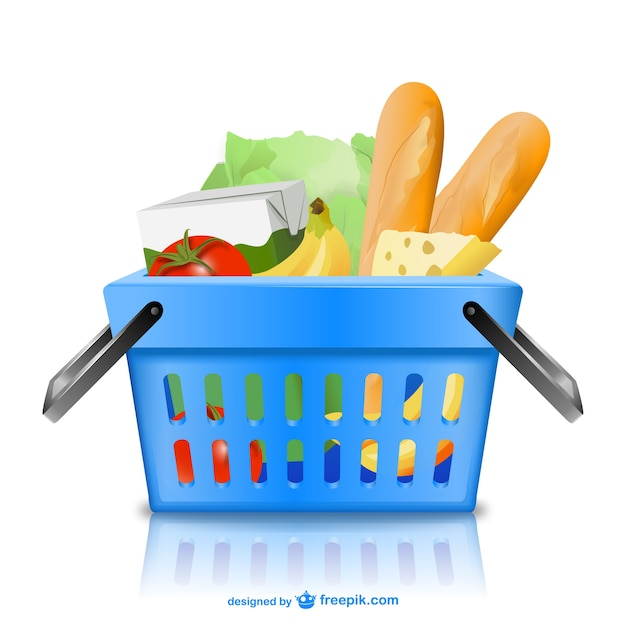 Basket with groceries Free Vector