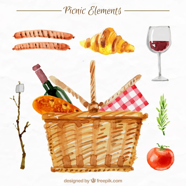 Basket with picnic elements in watercolor\ effect