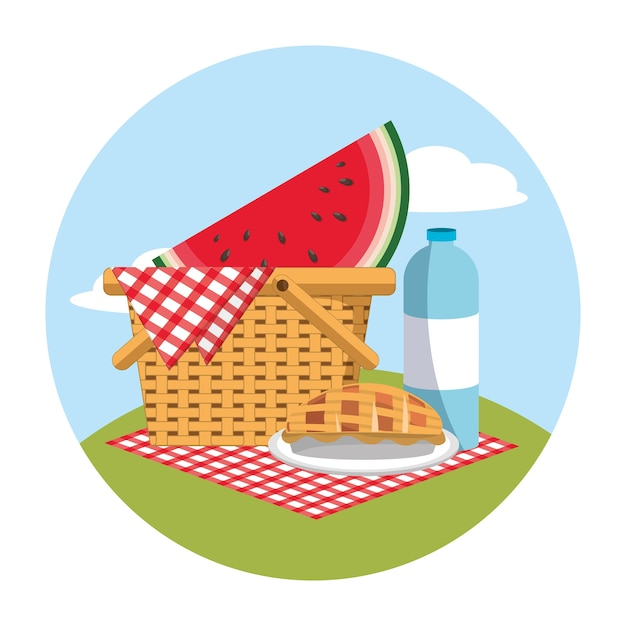Basket with watermelon and water bottle in the tablecloth Premium Vector