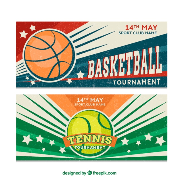 Basketball and tennis vintage banners