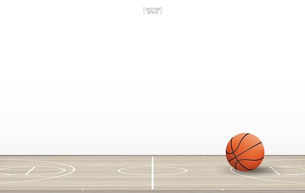 Баскетбольный мяч на баскетбольной площадке с рисунком деревянного пола и текстурой Premium векторы