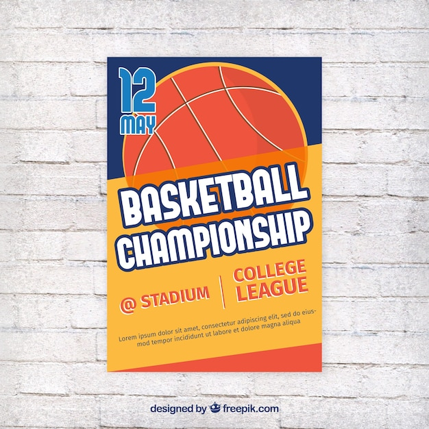 Basketball brochure in retro design Free Vector