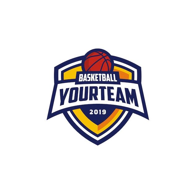 Basketball club emblem badge logo design Premium Vector