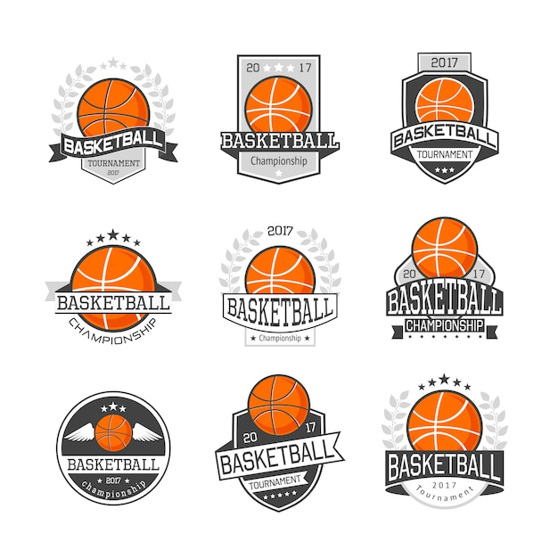 Basketball competitions emblems set Free Vector