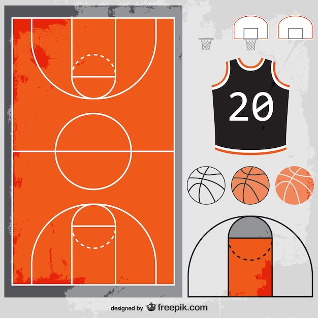 Basketball court, balls and t-shirt Premium Vector