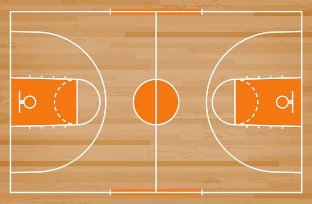 Пол баскетбольной площадки с линией картиной на деревянной предпосылке. Premium векторы
