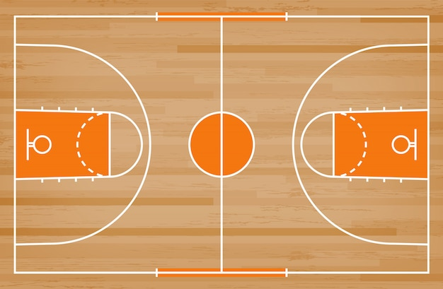 Premium Vector Basketball Court Floor With Line Pattern On Wood Background