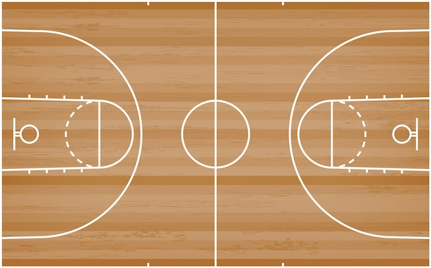 Basketball court floor with line pattern on wood background. Premium Vector