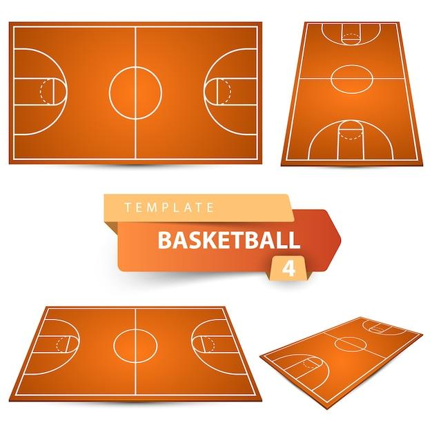Баскетбольная площадка. спортивный шаблон для четырех предметов. Premium векторы