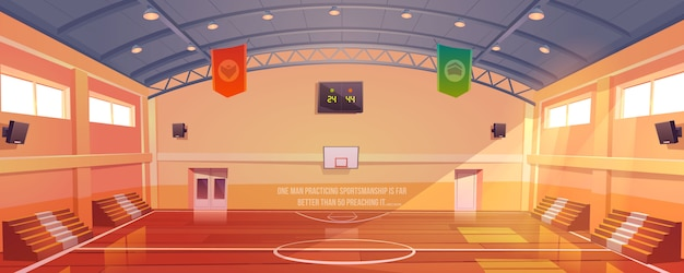 フープ、トリビューン、スコアボードのあるバスケットボールコート 無料ベクター