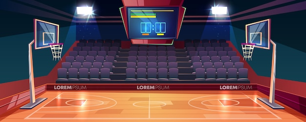 Basketball court with wooden floor, scoreboard on ceiling and empty fan sector seats cartoon Free Vector