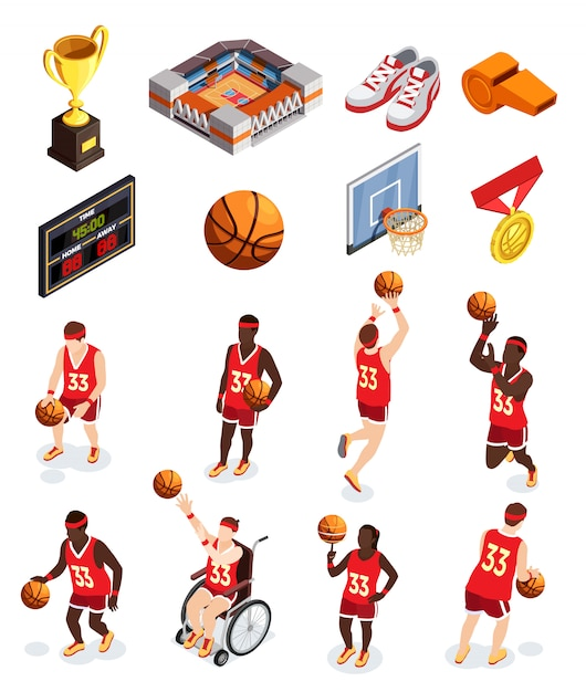 Basketball elements icon set Free Vector