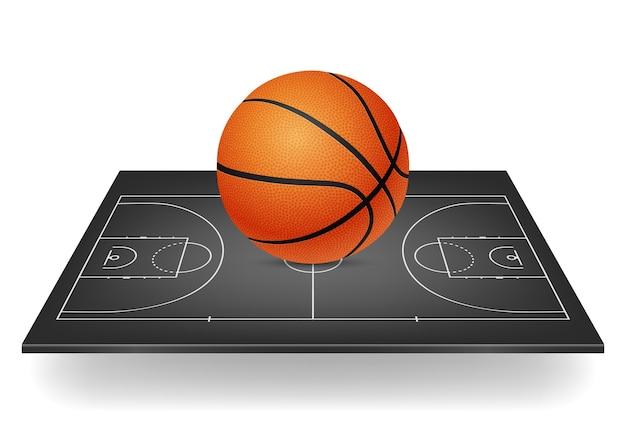 농구 아이콘-검은 법원에 공입니다. 프리미엄 벡터