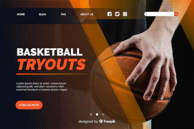 Basketball landing page with photo Free Vector