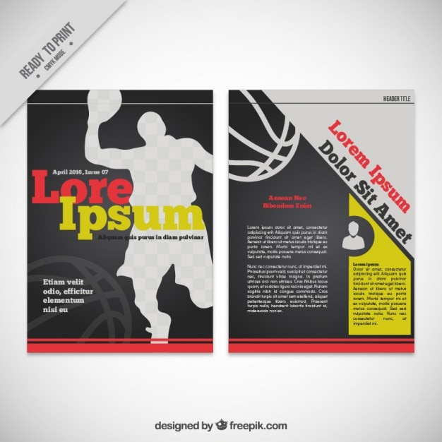Basketball magazine template Vector | Free Download