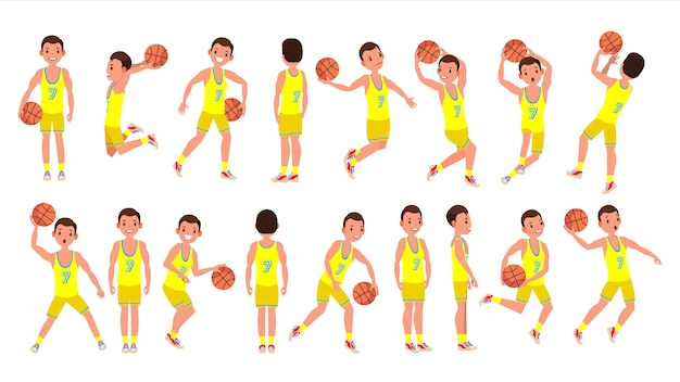 Basketball male player vector. yellow uniform. playing with a ball. healthy lifestyle. team action stickers. cartoon character Premium Vector