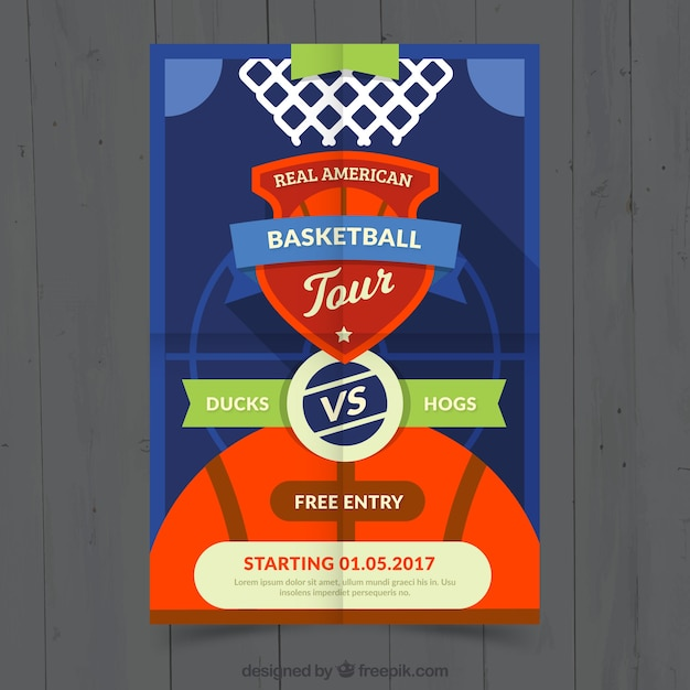 Basketball match flyer Free Vector