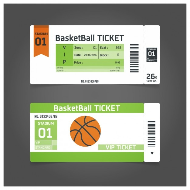 Basketball match ticket template vector free download for Sports ticket template free download