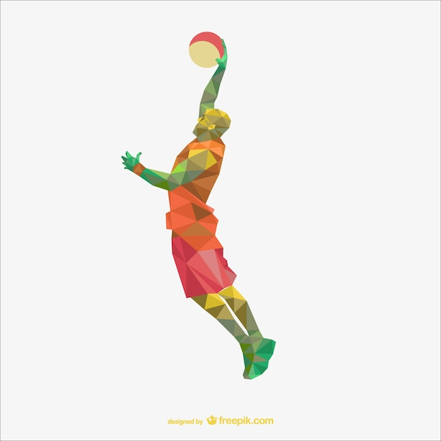 Basketball player polygon drawing Free Vector