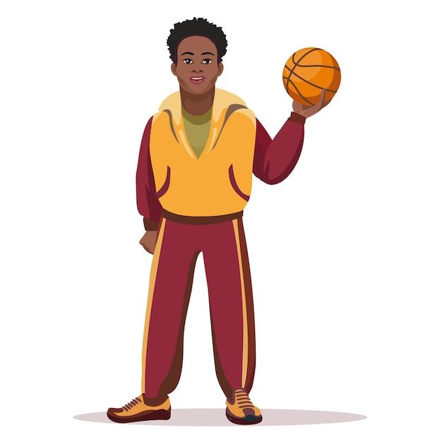 Giocatore di basket con palla isolato su bianco. Vettore gratuito