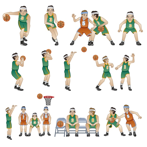 Basketball players characters collection Free Vector