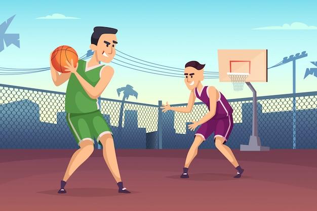 법원에서 농구 선수 프리미엄 벡터