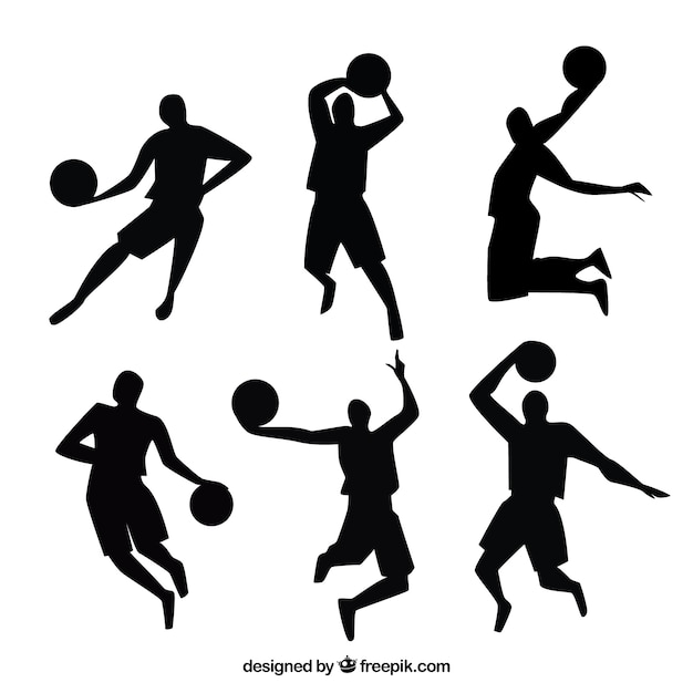 Basketball players silhouettes Vector | Free Download