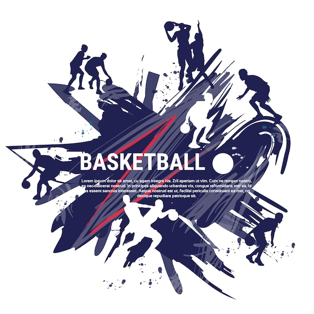 Basketball players sportsman sport competition logo banner Premium Vector