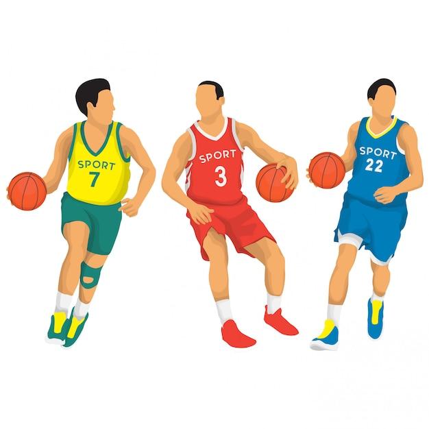 Basketball players vector collection Premium Vector