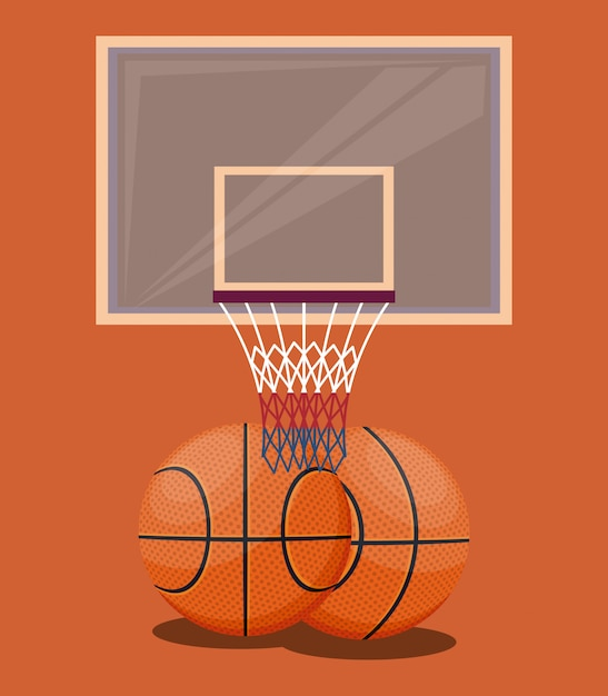 Basketball sport game orange background items Free Vector
